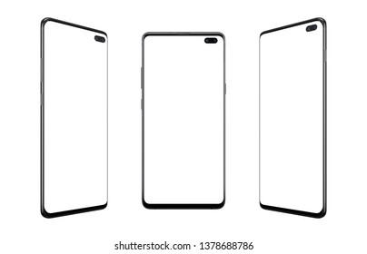 Isolated modern smart phones in three positions. Camera built into the display. Round and thin edges.