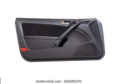 Isolated modern sports car door panel with red reflector, black fabric insert, pleather armrest, carbon fiber grip, door lock opening switches, window rocker buttons, mirror switch and chrome handle.