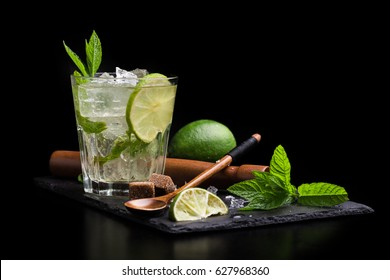 Isolated mojito with lime and mint