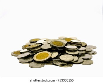 The isolated of mound coin on the white background