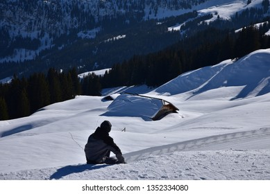 Isolated mountain lodge in Oberland, swiss Alps