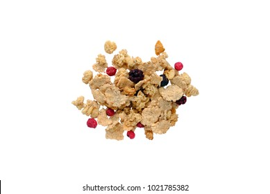 Isolated muesli, a top view closeup photo image on scattered muesli grain isolated on white background, muesli texture, dried seeds, cereal healthy food