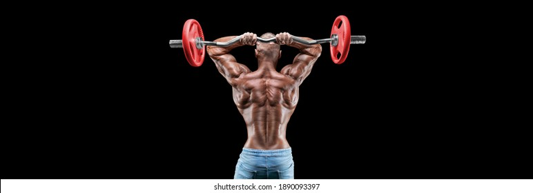 Isolated muscular man on a black background. Bodybuilding and fitness concept. Panorama. Mixed media