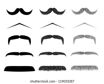 Isolated mustache collection realistic style drawing style and cartoon