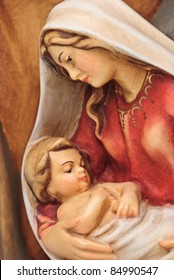 isolated nativity scene; Josef and Mary with the young Jesus Christ in her arms