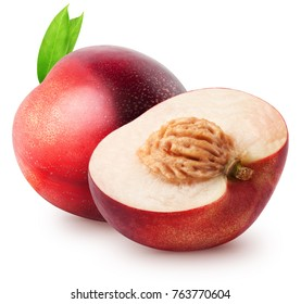 Isolated nectarines. Whole nectarine fruit and half with leaves isolated on white background with clipping path