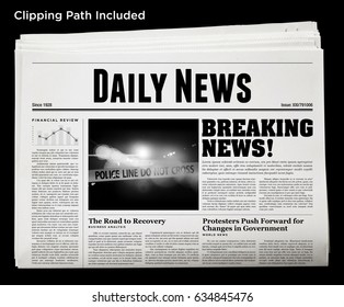 An isolated newspaper showing 'Daily News' as headline.