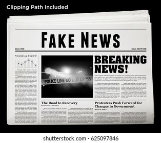 An isolated newspaper showing 'Fake News' as headline.