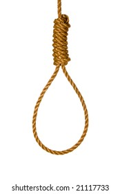 An isolated noose shows the method of execution or suicide.