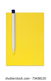 Isolated notebook with a pen. A clipping path is included for your convenience.