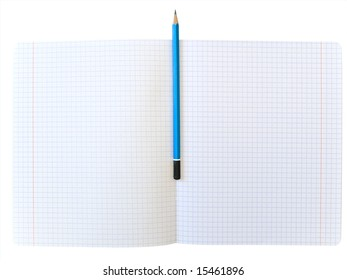 Isolated notebook and pencil against the white background