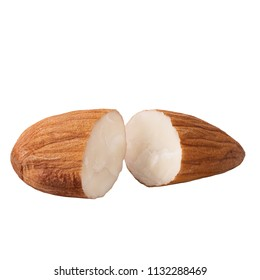 Isolated nuts. Almond nuts isolated on white background with clipping path as package design element and advertising.