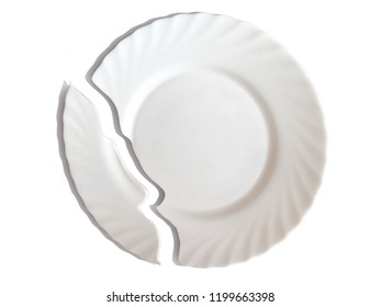 An isolated object is a juicy porcelain broken plate.