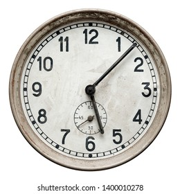 Isolated object: old rusty round wall clock, close-up shot, on white background