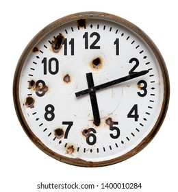 Isolated object: old rusty round wall clock with gun shot holes, close-up shot on white background, crime and violence concept