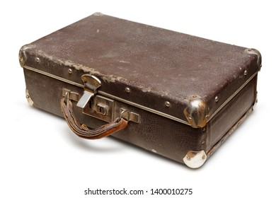 Isolated object: old shabby suitcase, close-up shot, on white background