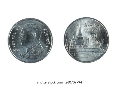 isolated object on white -   coin Thailand