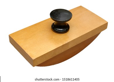 Isolated objects: antique office tool, wooden ink blotter, on white background