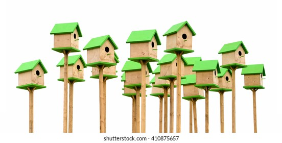 Isolated objects: big group of green wooden birdhouses, on white background