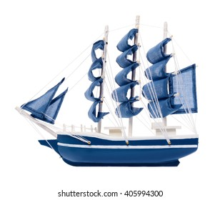 Isolated objects: blue sailboat with blue sails, generic scale model, on white background