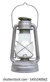Isolated objects: brand new kerosene lamp on white background