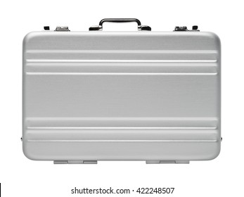 Isolated objects: closed aluminium briefcase, on white background