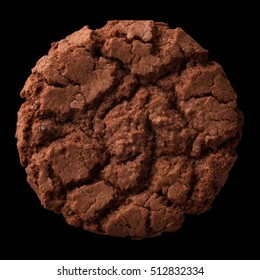 Isolated objects: dark chocolate cookie, isolated on black background