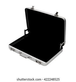 Isolated objects: empty opened aluminium briefcase, on white background