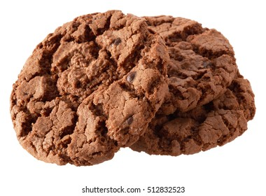 Isolated objects: group of dark chocolate cookies, isolated on white background