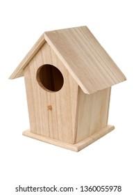 Isolated objects: handmade wooden bird nesting box, bird house, on white background