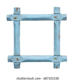 Isolated objects: old empty blue picture frame on white background