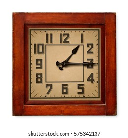 Isolated objects: old square wooden wall clock, isolated on white background