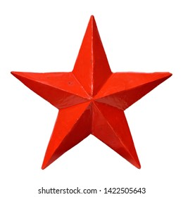 Isolated objects: red five-pointed star, on white background
