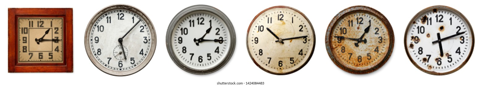 Isolated objects: set of six old wall clocks, arranged in one row on white background
