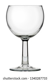 Isolated objects: single classic round wine glass, on white background