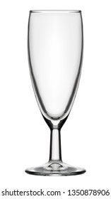 Isolated objects: single empty champagne flute glass, on white background