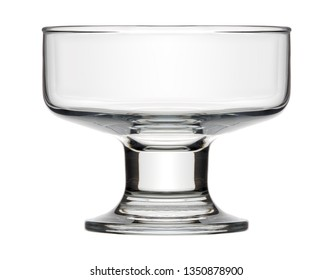 Isolated objects: single empty dessert bowl, on white background