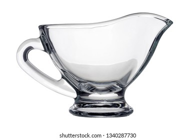 Isolated objects: single glass gravy boat, on white background