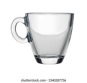 Isolated objects: single hot tea or coffee glass cup, on white background