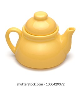 Isolated objects: single small yellow teapot on white background