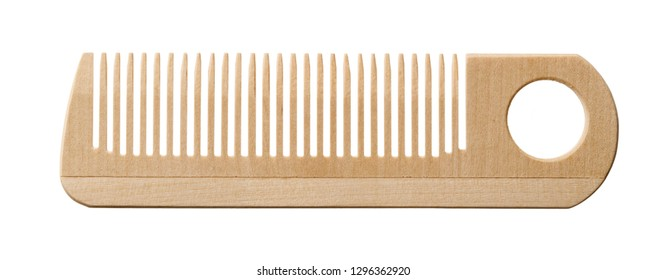 Isolated objects: single wooden hair comb on white background