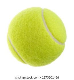Isolated objects: single yellow green tennis ball on white background