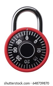 Isolated objects: small red combination padlock, isolated on white background