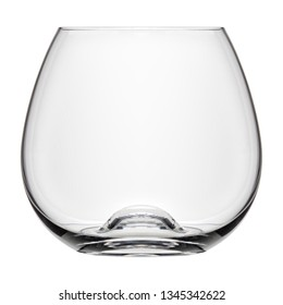 Isolated objects: small single empty classic cognac glass, on white background