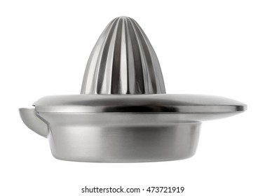 Isolated objects: stainless steel orange squeezer, isolated on white background