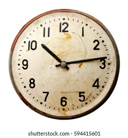 Isolated objects: very old broken round wall clock, isolated on white background