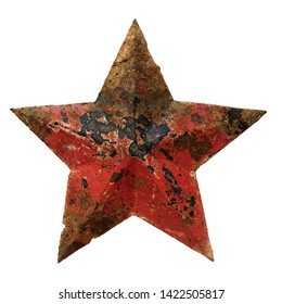 Isolated objects: very old rusty red five-pointed star, on white background