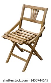 Isolated objects: very old wooden folding chair on white background