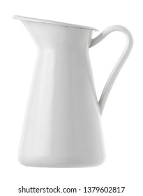 Isolated objects: white enamel antique jug on white background