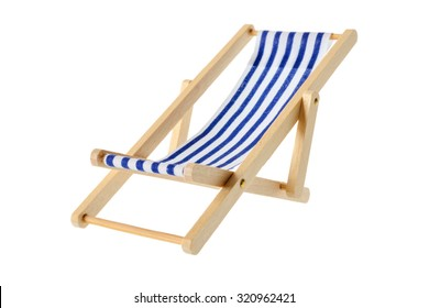 Isolated objects: wooden blue striped deck chair, isolated on white background